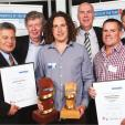 Left to right, BCITO CEO Ruma Karaitiana, Maurice Williamson, Apprentice of the Year 2013 Bill Harkness, Paul Bull, Ben Redmond and David Fabish.